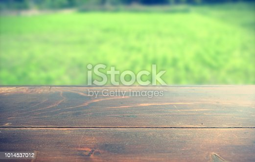 862429776 istock photo Empty wood table top on blur abstract green from garden in morning background. can be used for display or montage your products 1014537012