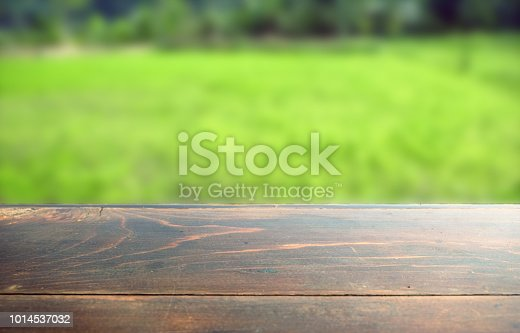 862429776 istock photo Empty wood table top on blur abstract green from garden in morning background. can be used for display or montage your products 1014537032
