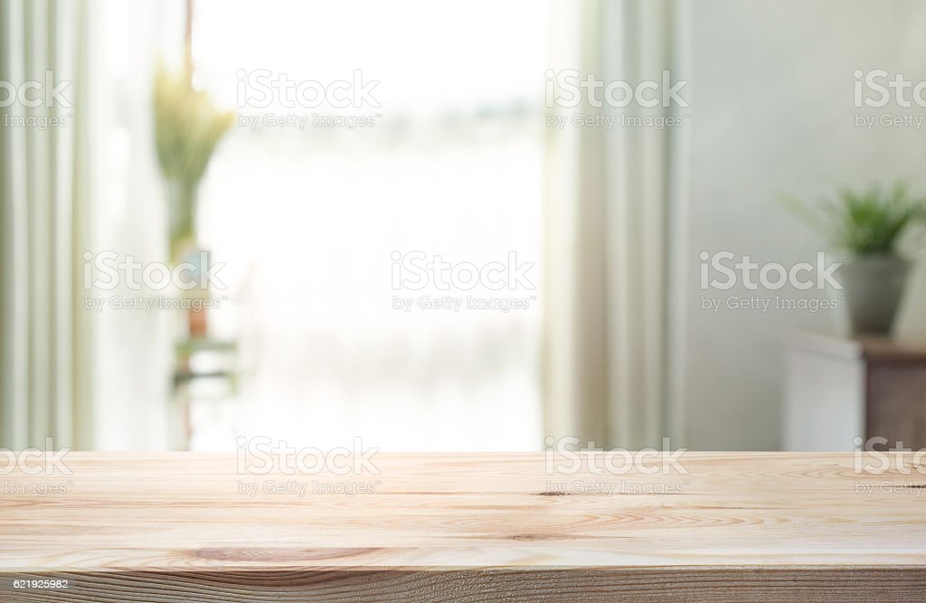 Empty Wood Table Top On Blur Of Curtain Window Background. Royalty Free  Stock Photo