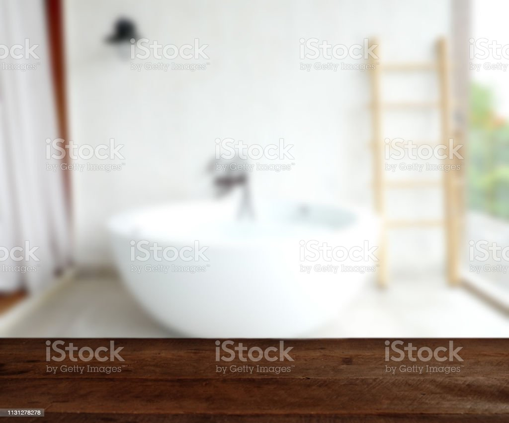 Empty Wood Table Top On Luxury Bathtub Interior Background Can Be Used For Display Or Montage Your Products Stock Photo Download Image Now Istock