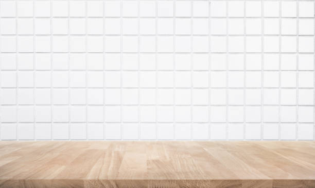 empty wood table top with brick wall - azulejo imagens e fotografias de stock