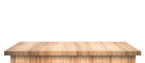 Empty Wood table with abstract pattern isolated on pure white background. Wooden desk and shelf display board with perspective floor. ( Clipping path ) stock photo