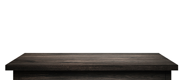 Empty Wood table with black wood planks isolated on pure white background. Wooden desk and black shelf display board with perspective floor. ( Clipping path )