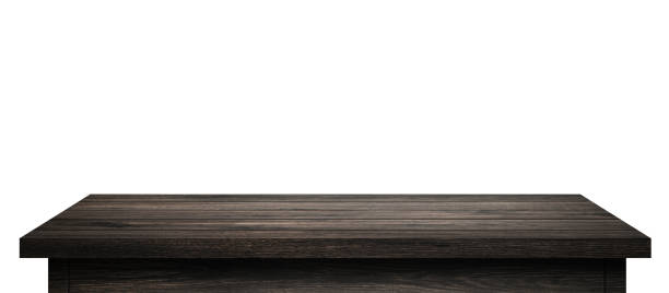 Empty Wood table with black wood planks isolated on pure white background. Wooden desk and black shelf display board with perspective floor. ( Clipping path ) stock photo