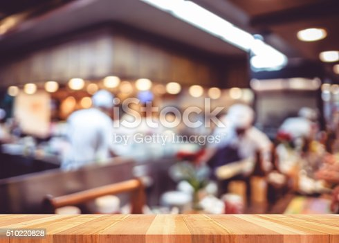886308526istockphoto Empty wood table with blur restaurant background,Mock up Templat 510220828