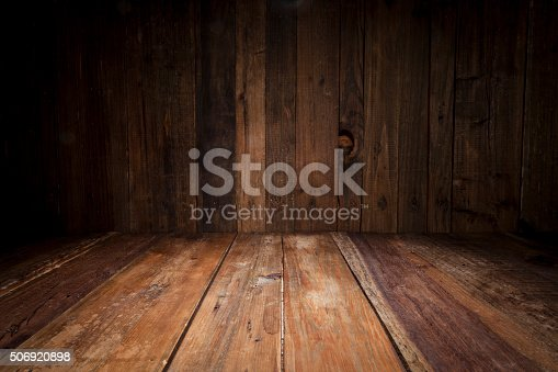 Empty wood table with dark vertical table background. Ideal for product display on top of the table.