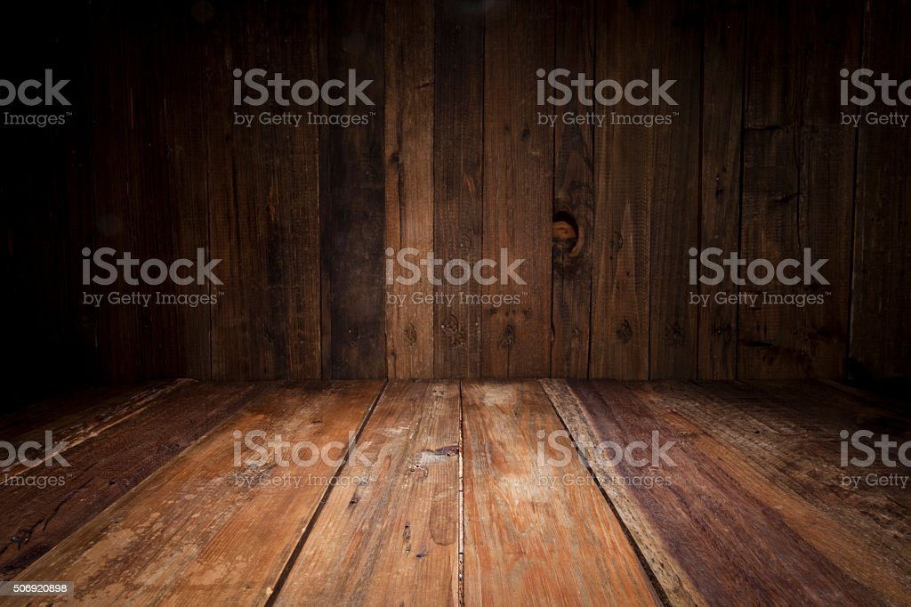 Empty wood table with dark vertical table background stock photo