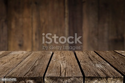 Empty wood table with defocused vertical table background. Ideal for product display on top of the table. DSRL studio photo taken with Canon EOS 5D Mk II and Canon EF 24-105mm f/4L IS USM Telephoto Zoom Lens