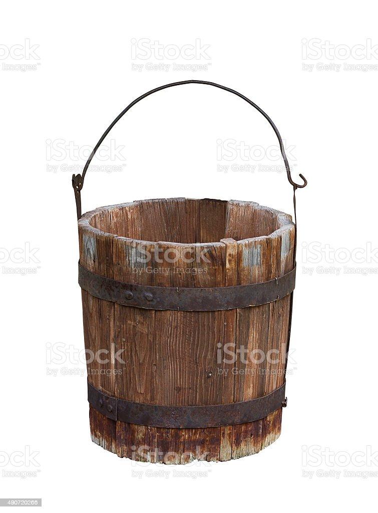 Empty wood water bucket stock photo