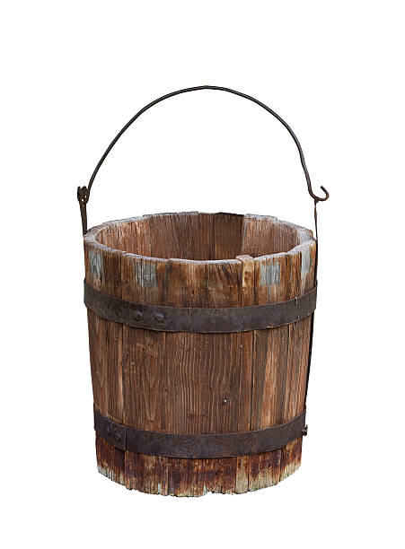 Empty wood water bucket stock photo