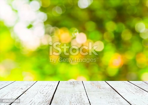 istock Empty wooden and green summer bokeh background 498050589