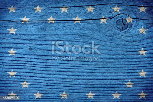 518726782 istock photo empty wooden board with american flag colors 455624109