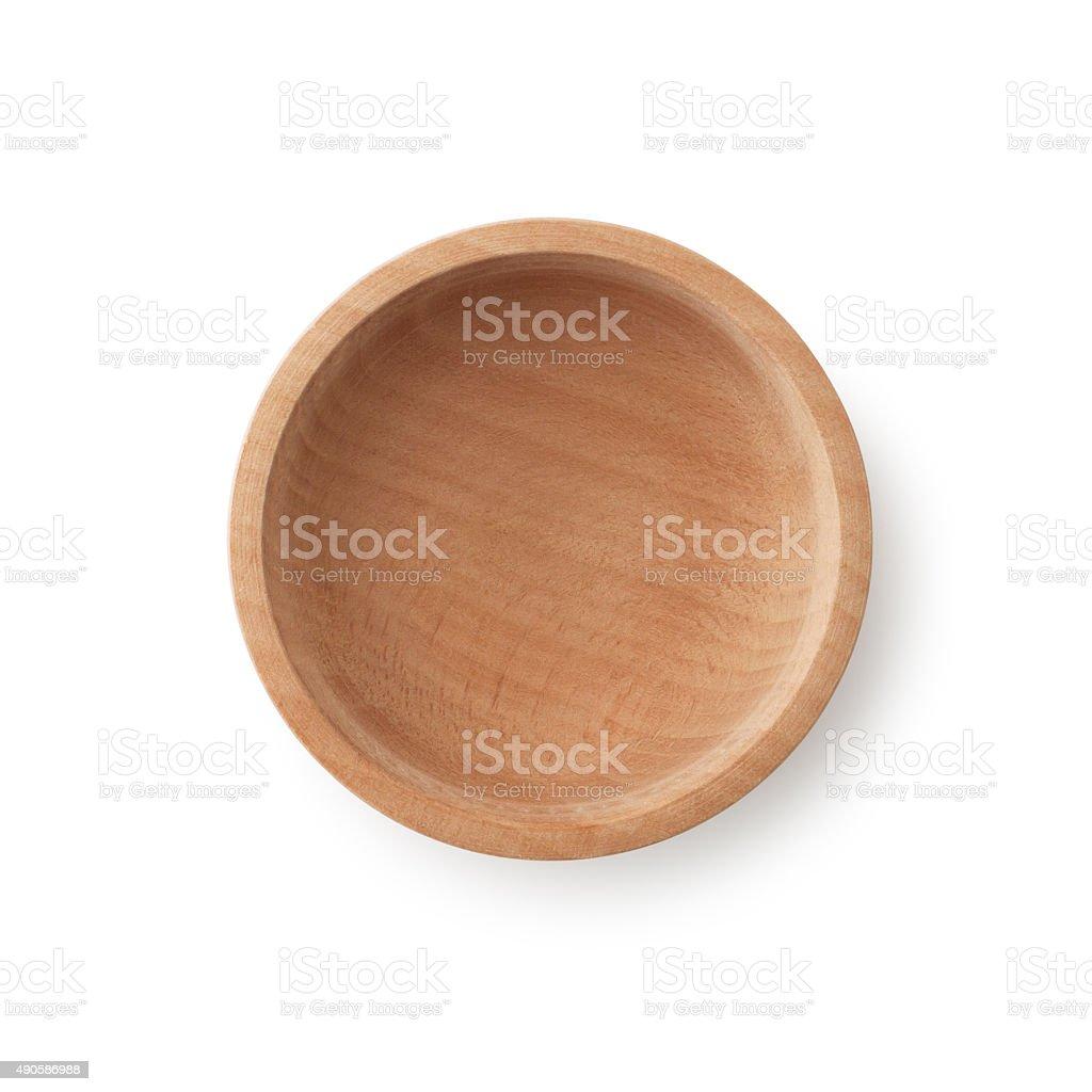 Empty Wooden Bowl stock photo