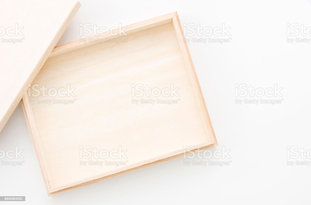 empty wooden box isolated white background