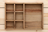 Empty wooden box on wood background