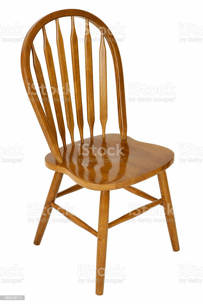 Empty wooden chair on white royalty-free stock photo