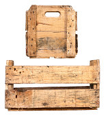 Empty Wooden crate isolated on White Background. Different Angles.