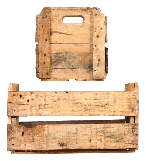 Empty Wooden Crate. Different variations of Fruit Tray made of Wood. stock photo