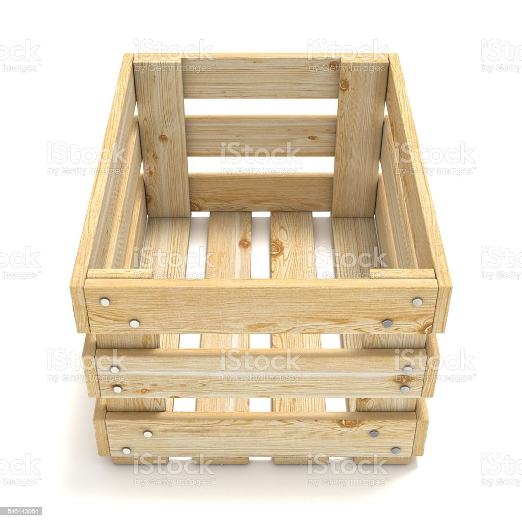 Empty wooden crate. Front view. 3D stock photo