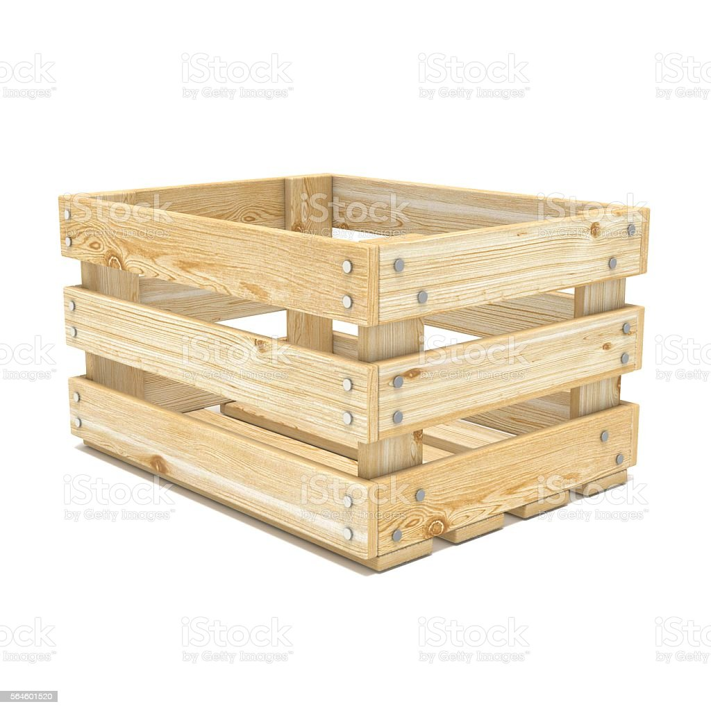 Empty wooden crate. Side view. 3D stock photo