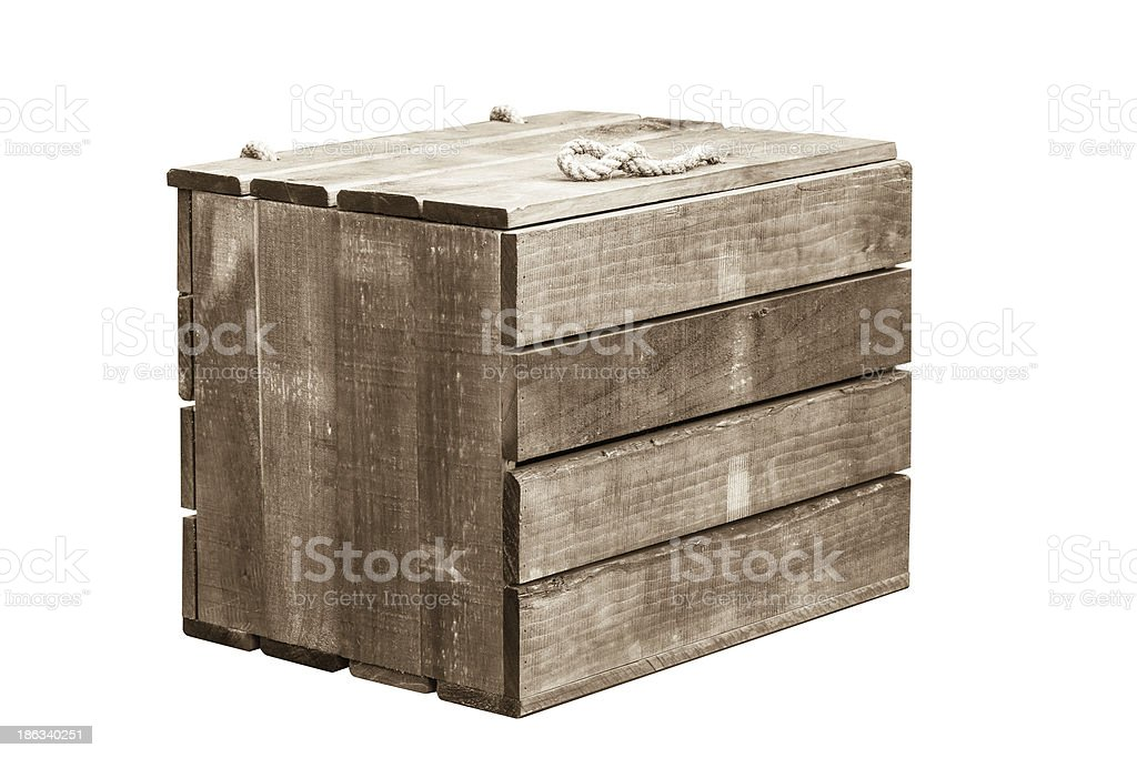 A empty wooden crate with a rope handle stock photo