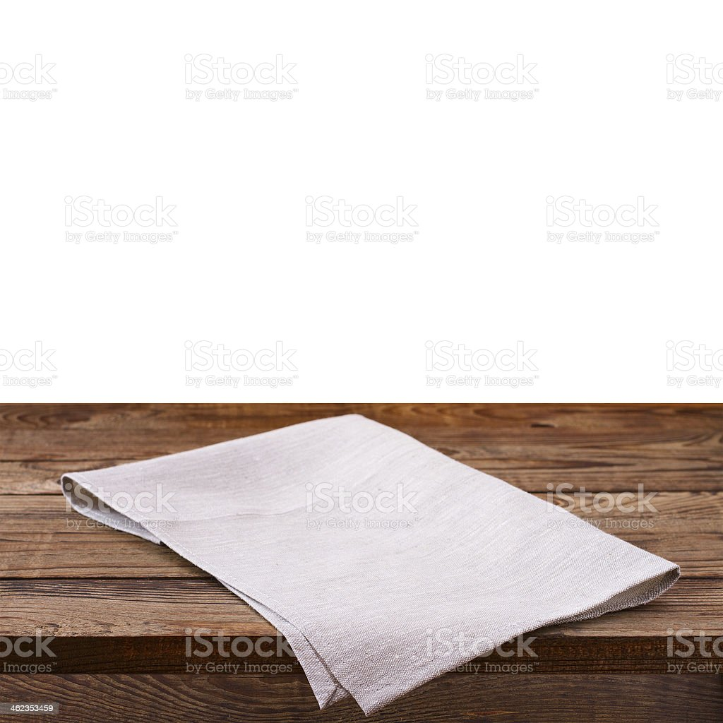 Empty wooden deck table with tablecloth royalty-free stock photo