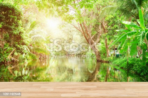 680878382 istock photo Empty wooden desk of free space and spring time with Morning sun light with wind blowing leaves in the lake park,Template mock up for display montages of product. 1091192548