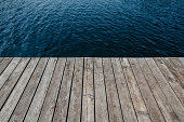 Empty wooden dock at Lake Michigan