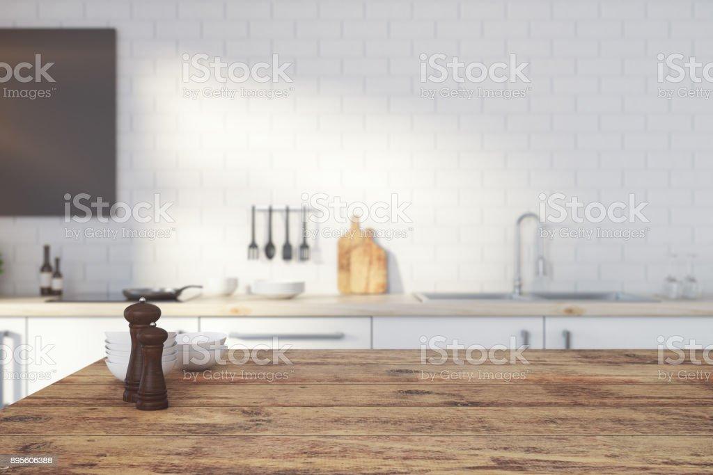 Empty wooden kitchen counter stock photo
