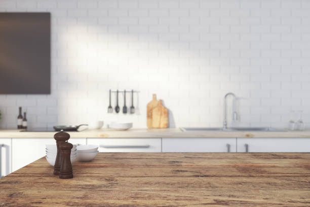 empty wooden kitchen counter - kitchen imagens e fotografias de stock