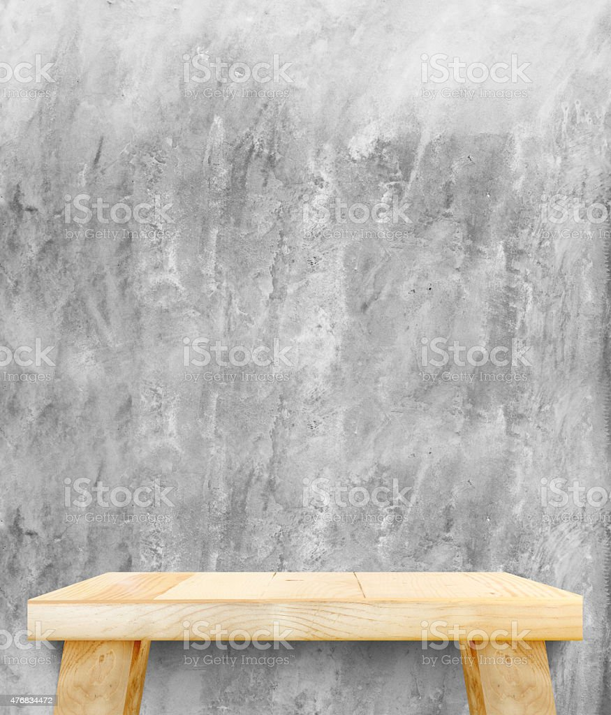 Empty wooden modern table on brick tiles wall,Mock up stock photo