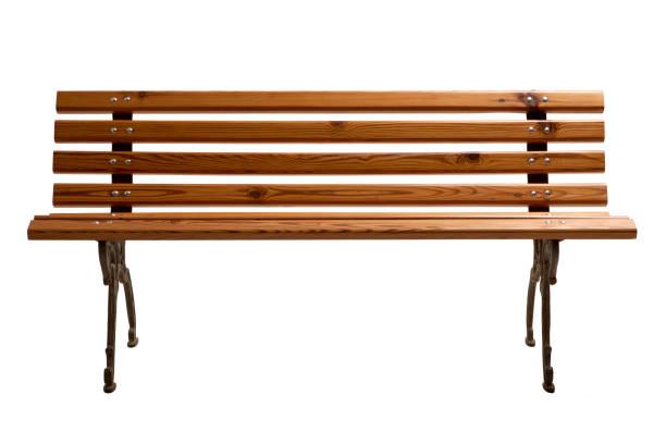 banco de jardim de madeira vazio. - banco assento - fotografias e filmes do acervo