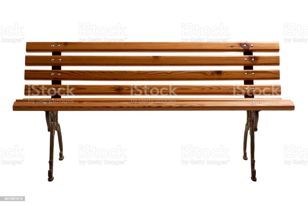 Empty Wooden Park Bench. stock photo