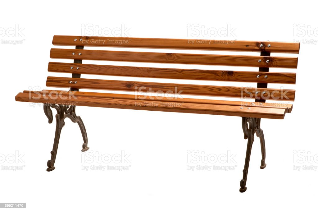 Empty Wooden Park Bench. stock photo