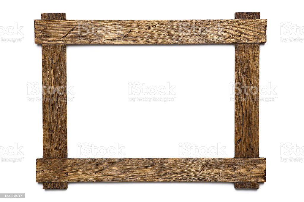 Empty wooden photo frame on white background stock photo