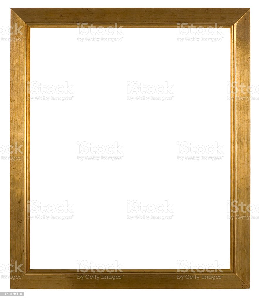 Empty wooden picture frame isolated on white background stock photo