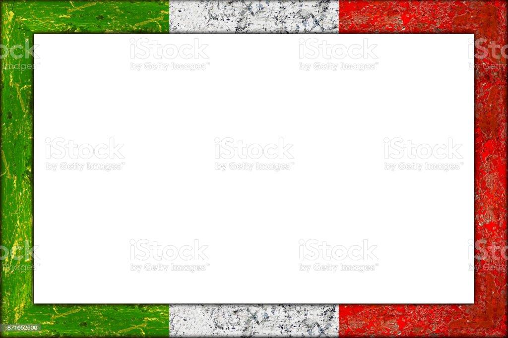 Italienische Flagge Rahmendesign Leer Aus Holz Bild Stock-Fotografie ...