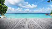 Empty Wooden Pier At The Seaside