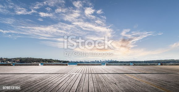 empty wooden plank front of sydney skyline,New South Wales,Australia.