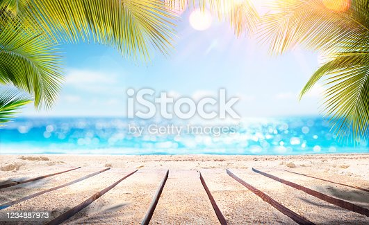 istock Empty Wooden Planks With Blur Beach And Sea On background 1234887973