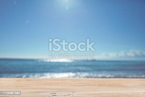 1125987088istockphoto Empty Wooden Planks with Blur Beach on Background 1125987085
