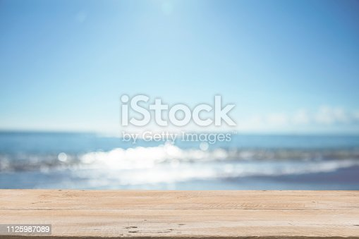 1125987088istockphoto Empty Wooden Planks with Blur Beach on Background 1125987089