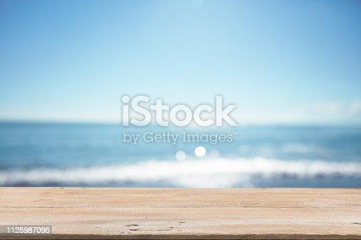 1125987088istockphoto Empty Wooden Planks with Blur Beach on Background 1125987095