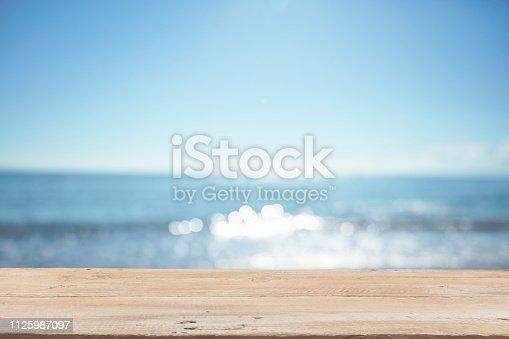 1125987088istockphoto Empty Wooden Planks with Blur Beach on Background 1125987097