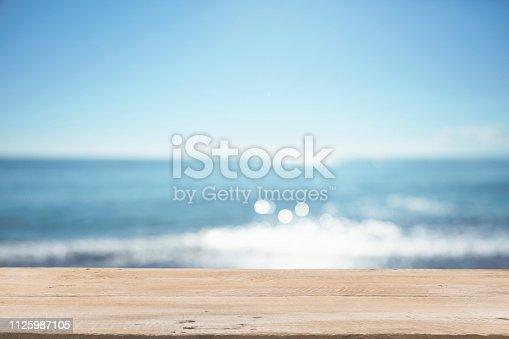 1125987088istockphoto Empty Wooden Planks with Blur Beach on Background 1125987105