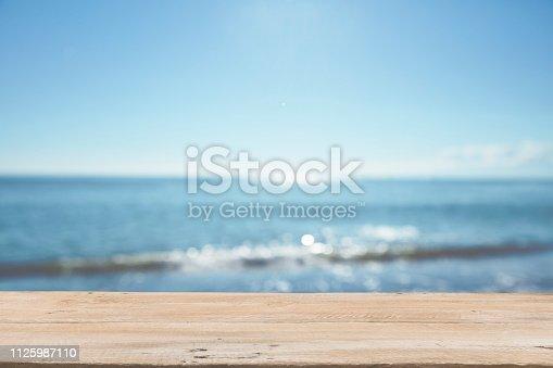 1125987088istockphoto Empty Wooden Planks with Blur Beach on Background 1125987110