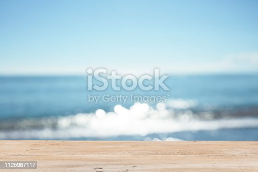 1125987088istockphoto Empty Wooden Planks with Blur Beach on Background 1125987117