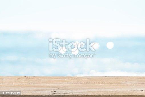 1125987088istockphoto Empty Wooden Planks with Blur Beach on Background 1125987119