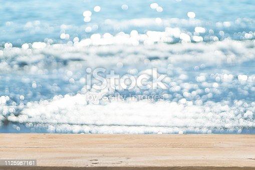 1125987088istockphoto Empty Wooden Planks with Blur Beach on Background 1125987161