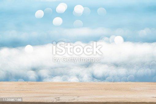 1125987088istockphoto Empty Wooden Planks with Blur Beach on Background 1125987166